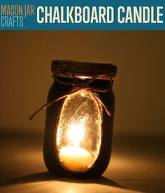 This easy mason jar craft project shows you how to make chalkboard candle lights from a mason jar. 100's of best craft ideas, home decor and DIY projects.