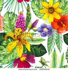 Vector illustration with watercolor flowers. Beautiful seamless background with tropical flowers and plants on white. Composition with yelloe lily,  chinese hibiscus and monstera leaves.