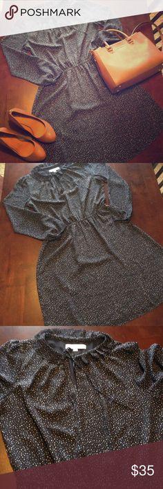 LOFT Navy Ruffle Neck Dress- Size 8 LOFT Navy Ruffle Neck Dress- Size 8 LOFT Dresses