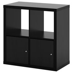 IKEA - KALLAX, Shelf unit with doors, black-brown, Two people are needed to assemble this furniture. Different wall materials require different types of fasteners. Use fasteners suitable for the walls in your home. Hardware for wall mounting included. Ikea Kallax Shelf Unit, Kallax Shelving Unit, Shelving Systems, Storage Shelving, Wall Shelf With Drawer, Wall Shelf Unit, Wall Shelves, Ikea Regal, Home Furniture