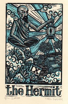 The Hermit - Tarot card art - hand pulled linoleum block print. $10.00, via Etsy.