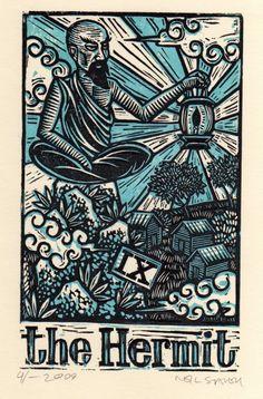The Hermit - Tarot card art - hand pulled linoleum block print. $10.00, via Etsy.