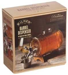 Kilner Barrel Dispenser 1L Glass Wooden Stand Whiskey Liquor Spirits Party Drink.