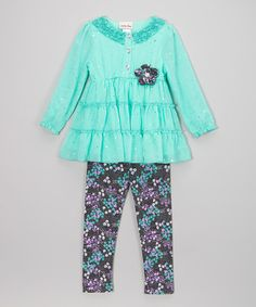 Loving this Aqua Sheer Top & Floral Leggings - Infant, Toddler & Girls on #zulily! #zulilyfinds