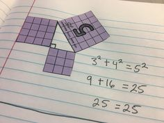 Using hands-on, discovery learning to teach the Pythagorean Theorem. By conducting a series of trials, students got to see the Pythagorean Theorem in action. Math Problem Solving, Solving Equations, Geometry Activities, Math Activities, Pythagorean Theorem, Math Talk, Math Notes, Math Graphic Organizers, Math Intervention