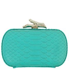 DVF Leather Lytton Python Clutch