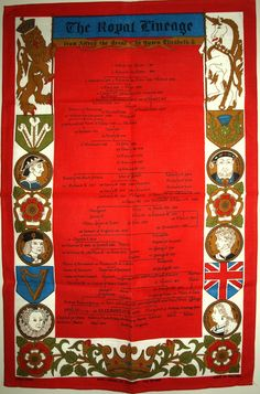 The Royal Lineage Ulster Tea Towel - Vintage Historical Royal Family Queen Elizabeth II - New Old Stock