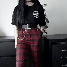 edgy outfits for guys Grunge Outfits, Edgy Outfits, Mode Outfits, Korean Outfits, Girl Outfits, Fashion Outfits, Gothic Outfits, Club Outfits, Fashion Weeks