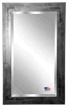 Add visual interest with this unique shiny black frame with a gray brushed grain design. Mirror includes a 1 inch beveled edge for a polished finish. Rayne's American Made standard of quality includes; metal reinforced frame corner support, both vertical and horizontal hanging hardware installed and a manufacturers warranty. $302 Free Shipping