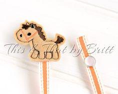 Horse Feltie- Orange Stripe Ribbon- Baby Pacifier Clip- Teething Ring Clip