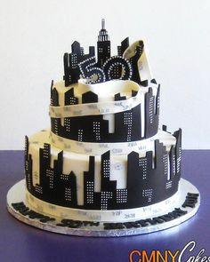 50th Birthday Black and White NYC Themed Cake - CMNY Cakes