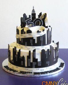 50th Birthday Black and White NYC Themed Cake - CMNY Cakes