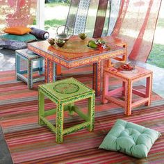 Table and Stools for the deck.