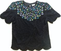 Vintage Leslie Fay Evenings Sequined Beaded Top Blouse Size XL 100% Silk  #LeslieFayEvenings #Top