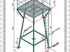 Turm für erhöhten wassertank 3d in AutoCAD | CAD (109.55 KB) | Bibliocad Ladder Tree Stands, Plumbing Vent, Water Well Drilling, Steel Water Tanks, Tank Stand, Water Storage Tanks, Tower Design, 55 Gallon, Cad Blocks