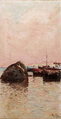 Barche tra gli scogli (olio su tela, cm. 62x32 collezione Galleria Antonello Governale)