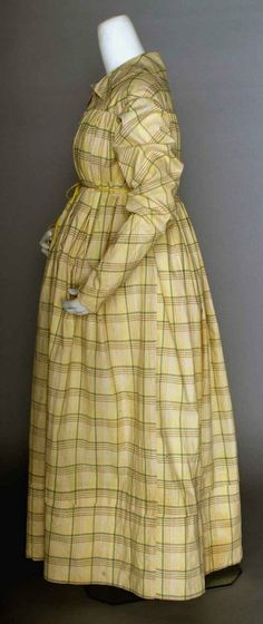 Madras Plaid Maternity Housedress, 1820's