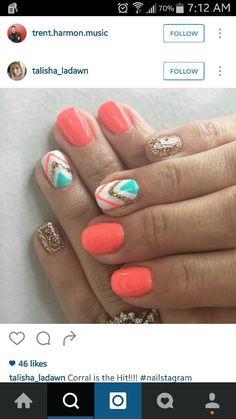 52 Ideas nails design frances toe - Hand Nail Design FoR Women Get Nails, Hair And Nails, Uñas Color Coral, Gel Nails At Home, Dipped Nails, Cute Nail Designs, Bright Nail Designs, Nail Designs For Summer, Bright Nail Art