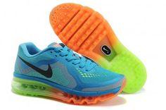 Nike Air Max 2014 Womens Dark Blue Fluorescent Green Orange Shoes