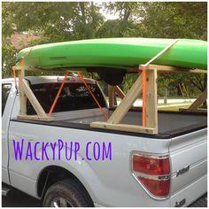 Creative Living Ideas, Projects, Tutorials for Tiny House & RV Kayak Rack For Truck, Kayak Storage Rack, Wooden Kayak, Wooden Boats, Truck Caps, Kayaking Tips, Kayak Fishing, Outdoor Fun, Pickup Trucks