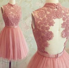 Graceful Open Back High Neck Lace Appliqued Sweet Tulle Homecoming Dresses,Hot 70