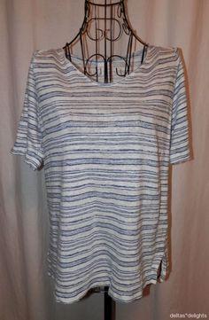 J. JILL TOP M Medium Petite M P Love Linen Blue White Striped Short Sleeve Casua #JJill #KnitTop #Casual