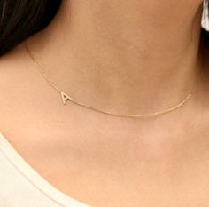 Sideways Initial Necklace-Initial Necklace-Dainty Necklace-Letter Necklace-Monogram Necklace-Personalized Necklace-Bridesmaid Gifts - 2019 New Bags Letter Necklace Silver, Initial Jewelry, Monogram Necklace, Dainty Necklace, Personalized Necklace, Silver Necklaces, Jewelry Necklaces, Gold Bracelets, Gold Jewelry