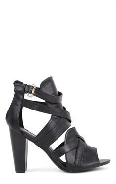 Deb Shops strappy shielded chunky high heel $27.67
