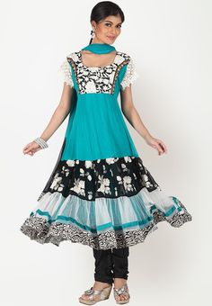 Short Sleeve Lace & Ruffle Black & White Embroidered Turquoise Blue Sareez Indian Dress