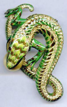 Vintage Coro Craft Enamel Rhinestone Sterling Lizard Eating Pearl Brooch Pin | eBay