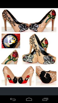 Disney custom made wedding heels from wickedaddiction on Etsy