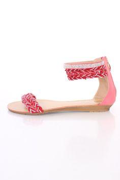 Red Rhinestone Braided Strappy Sandals Fabric