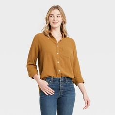 Women's Long Sleeve Gauze Button-Down Shirt - Universal Thread™ : Target