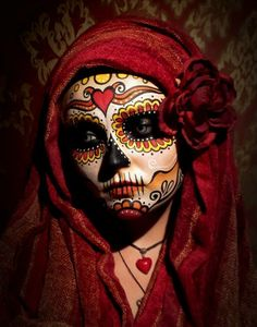 accessories, beautiful, costume, day of the dead, dia de los muertos, face painting, flowers, halloween, heart, heart necklace, make up, pretty, red, red heart, sugar skull, costume make-up
