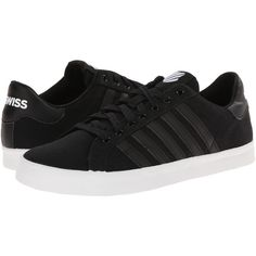 K-Swiss Belmont SO T Women's Tennis Shoes, Black (135 BRL) ❤ liked on Polyvore featuring shoes, black, black lace up shoes, striped shoes, k swiss shoes, grip shoes and stitch shoes