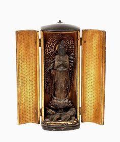 19C Japanese Lacquer Wood Zushi Travel Shrine Buddha