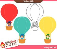 A cute set of hot air balloon graphics!- 1 unique design provided in 3 colorways as well as black/white lineart (4 files total)- 300 DPI files (nice crisp printing!)- PNG format (PNG files have transparent backgrounds)************************************************************************Share links to projects and products you make with this clip art on our website!