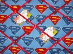 Medium Superman Hand Crafted Fabric Notice / Pin / Memo Board