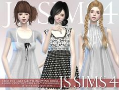 JS Sims 4: Crochet Lace Sleeveless Swing Dress & Simple ops With T-shirt & Pintuck Sleeveless • Sims 4 Downloads