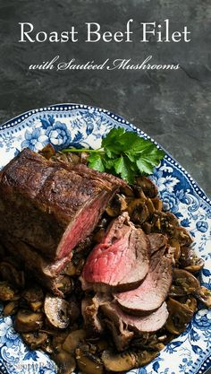 Roast Beef Tenderloin, seared then oven roasted, served with mushrooms sautéed in the pan drippings with butter and herbs. Perfect for a special meal or entertaining! Get the recipe on SimplyRecipes.c (Roast Beef Recipes) Roast Recipes, Dinner Recipes, Cooking Recipes, Roasted Beef Tenderloin Recipes, Roast Tenderloin, Beef Loin, Ribeye Roast, Cooking Beef, Top Recipes