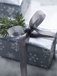 NEW Charcoal & Silver Wired Ribbon - Christmas Wrapping Paper, Tags & Ribbon - Christmas Decorations Luxury Christmas Wrapping Paper, Christmas Ribbon, Silver Christmas, Christmas Bells, Christmas Colors, Christmas Holidays, Merry Christmas Message, Christmas Messages, Christmas Wishes