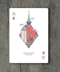 Ace of Diamonds - Auckland, New Zealand Game Card Design, Flyer Design, Line Illustration, Graphic Design Illustration, Playing Cards Art, Playing Card Design, Illustrations And Posters, Vintage Illustrations, Postcard Design