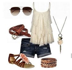 cute summer outfiit!!!!!!! So pretty with tbaby doll top and dloral sandals!!!! the necklace is a must have!