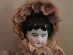 Antique German China Head Doll Low Brown by ParisPaintingsEtc, $55.00