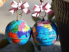 Enameled metal ribbon  topped globe earrings by TheSnowglobeRing, $9.89