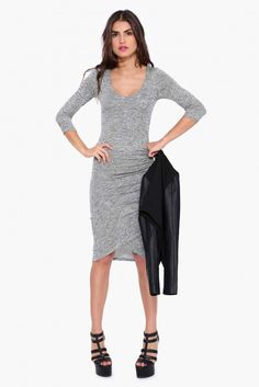 Camile Sweater Dress in Grey | Necessary Clothing