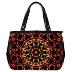 Yellow And Red Mandala Oversize Office Handbag (Two Sides) from @Zandiepants