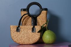 #water_hyacinth kelly linen #bag - available on our website and in our shops. To see more about this product, click here : https://mekong-plus.com/bag-251.html