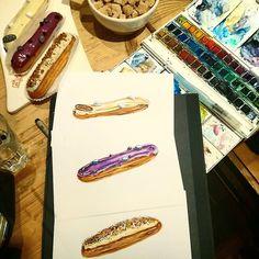 #More #sweets in @lpqru . Больше, больше сладостей! . #lepainquotidien #lpq #eclair #drawing #illustration #sweettooth #watercolor #