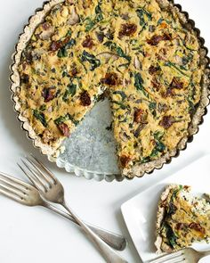 Sun dried Tomato, Mushroom, and Spinach Tofu Quiche